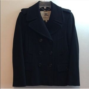 Burberry Black Wool Cashmere Peacoat Jacket US 8